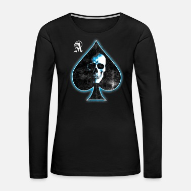 Black Heart Skull Ace of Spades (white blue) - Women's Premium Long Sleeve T-Shirt