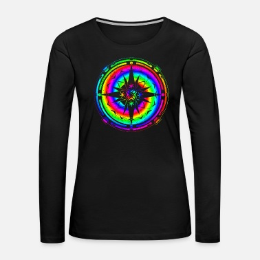 Psychedelic Psychedelic Rainbow Mandala & Sixties Flower Power - Women's Premium Long Sleeve T-Shirt