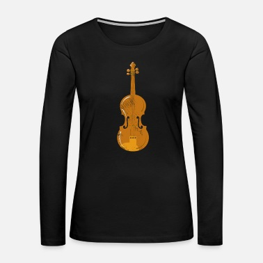 Orchestra Violin Drawing Illustration Instrument Present - Women's Premium Long Sleeve T-Shirt