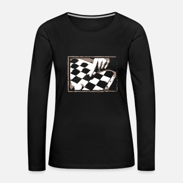 Checkerboard Checkerboard Game Design Gift for Boardgame Lovers of Chess, Checkers or Draughts - Women's Premium Long Sleeve T-Shirt