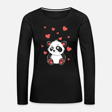 Kawaii Panda TShirt for Women Girls Kawaii Animal Lovers - Women's Premium Long Sleeve T-Shirt