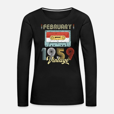 Tape February 1959 Casette Tape Vintage 60th Birthday - Women's Premium Long Sleeve T-Shirt