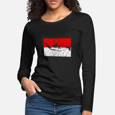 Jakarta Indonesia Map Silhouette Flag Travel Vacation Bali - Women's Premium Longsleeve Shirt