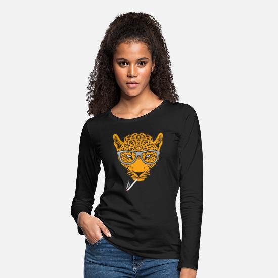Girlfriend Long-Sleeve Shirts - Leopard gift Africa cat fur zoo - Women's Premium Longsleeve Shirt black