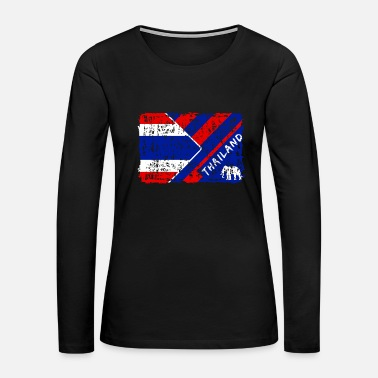 Bangkok Thailand Flags Design with Elephant / Gift Present - Women's Premium Long Sleeve T-Shirt