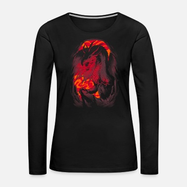 Satan Dragon in Cave | Fire Breathing Creature Gift - Women's Premium Long Sleeve T-Shirt