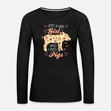 Hog Pig Piggy Hog Floral Hippie Flowers Gift - Women's Premium Long Sleeve T-Shirt