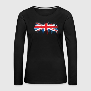 Painting Melting Great Britain Flag Fresh Paint Gift - Women's Premium Long Sleeve T-Shirt