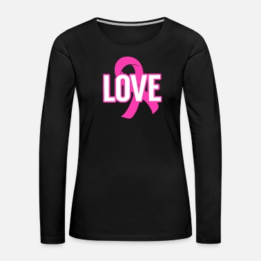 Superhero Love Pink Ribbon Cancer Awareness - Women's Premium Long Sleeve T-Shirt