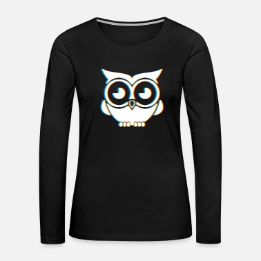 Neon Psychedelic Owl Gift | Trippy Retro 3D Effect - Women's Premium Long Sleeve T-Shirt
