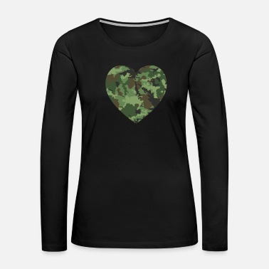 Memory Love American Soldier Troop Camouflage Heart Gift - Women's Premium Long Sleeve T-Shirt
