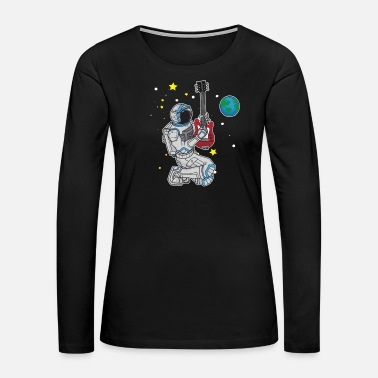 3b13b92596f1f Astronaut playing rock guitar in Outer Space Gift Women s 50 50 T ...