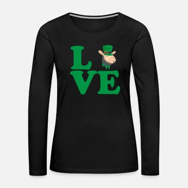 Drink Team St. Patrick's Day Gift Llama Alpaca Love - Women's Premium Long Sleeve T-Shirt