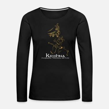 Deity Lord Krishna Design | Hinduism Gift for Believers - Women's Premium Long Sleeve T-Shirt