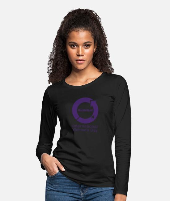 Equal Long-Sleeved Shirts - Each for Equal - International Women's Day Purple - Women's Premium Longsleeve Shirt black