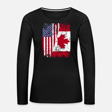 Canadian CANADIAN ROOTS | American Flag | CANADA Gift - Women's Premium Long Sleeve T-Shirt