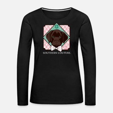 Southern Southern Couture Comfort Color Preppy Lab Dog Bow - Women's Premium Long Sleeve T-Shirt