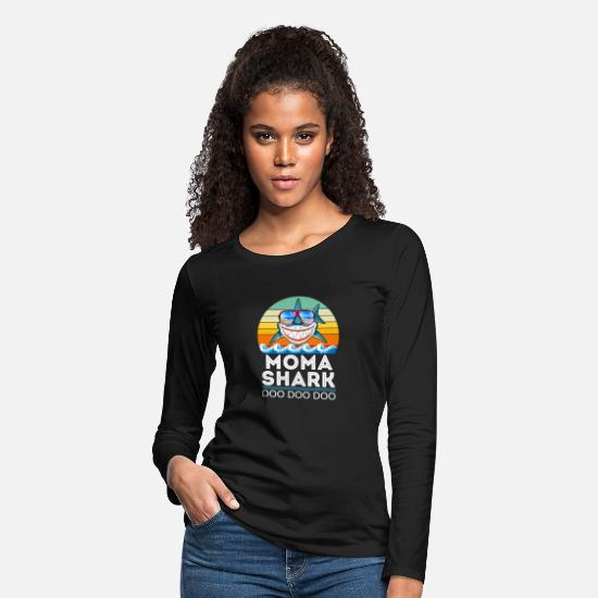 Shark Long-Sleeve Shirts - MoMa Shark Tshirt Doo Doo Doo Tshirt - Women's Premium Longsleeve Shirt black