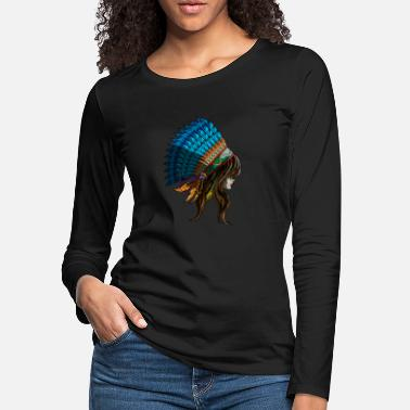 Indie American Indian Woman Indiana States Native Gift - Women's Premium Longsleeve Shirt