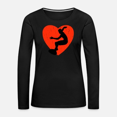 Black-heart SURFING VINTAGE DESIGN - Women's Premium Long Sleeve T-Shirt