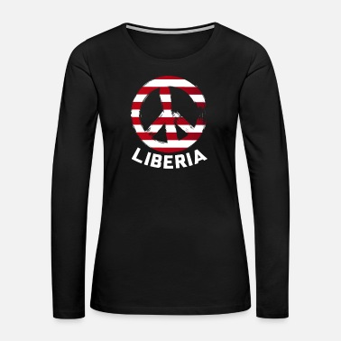 Paris Liberia Peace Sign Tee Shirt - Women's Premium Long Sleeve T-Shirt