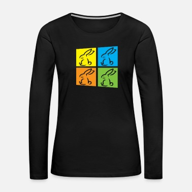 Easter Bunny Rabbit in Port Art style - Women's Premium Long Sleeve T-Shirt