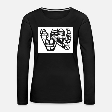 Graffiti Graffiti faces white gray in urban style - Women's Premium Long Sleeve T-Shirt