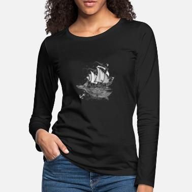 Whaler Whaler - white whale and Sailboat- - Women's Premium Longsleeve Shirt