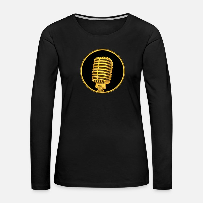Microphone Long sleeve shirts - vintage golden microphone - Women's Premium Longsleeve Shirt black