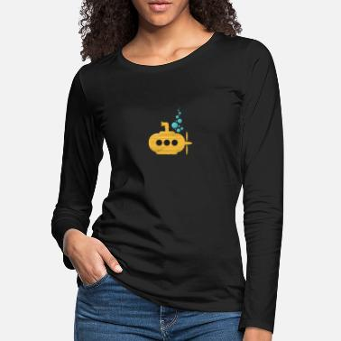 Christmas Yellow Submarine with bubbles Diver Gift Idea - Women's Premium Longsleeve Shirt