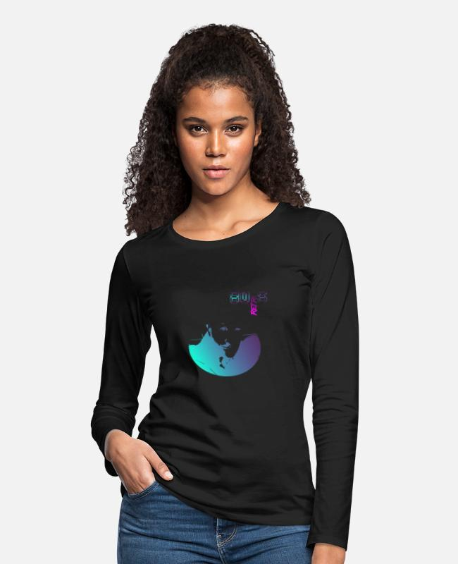 Retro Wave Long-Sleeved Shirts - 80´s RETRO - NEON - Women's Premium Longsleeve Shirt black