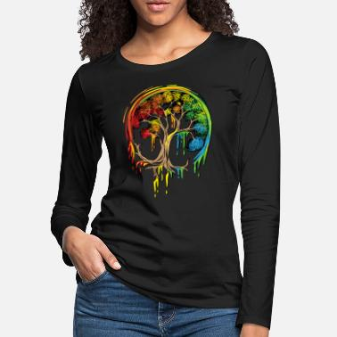 9d5d7ad41eac27 Colorful Tree Life is really good Tree Art Shirt - Women's Premium.  Women's Premium Longsleeve Shirt