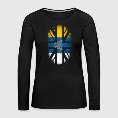 Off British Canarian Flag - Canary Islands and UK Pride TShirt - Women's Premium Long Sleeve T-Shirt