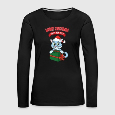 Reindeer Christmas Xmas Gifts Cat Kitten - Women's Premium Long Sleeve T-Shirt