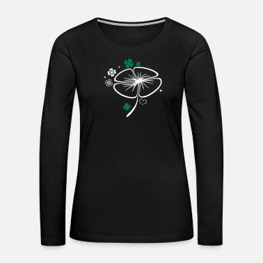 Clover-leaves St Patricks Day. Big Shamrock, four leave clover. - Women's Premium Long Sleeve T-Shirt