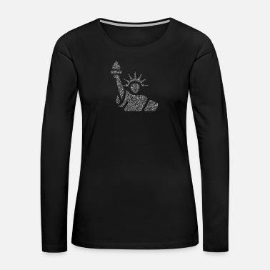 Statue Of Liberty Binary Wordcloud in Statue of Liberty Form (whites - Women's Premium Long Sleeve T-Shirt