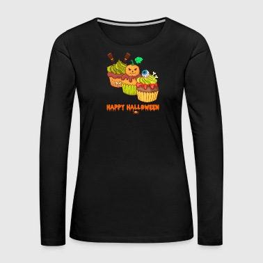 Skeleton Costume Happy Halloween Horror Cupcakes Muffins - Women's Premium Long Sleeve T-Shirt