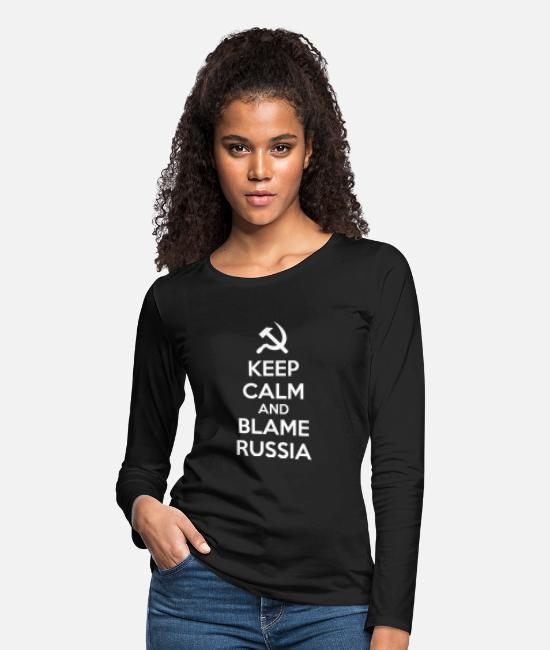 Russian Long-Sleeved Shirts - Russia - Keep Calm and Blame Russia or Russian H - Women's Premium Longsleeve Shirt black