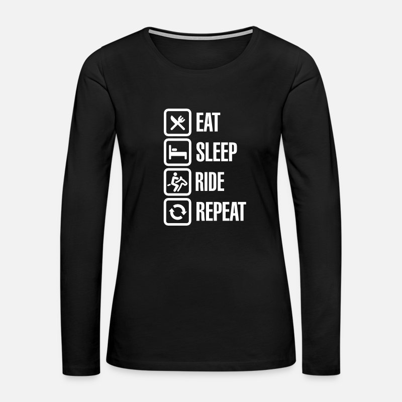 Dressage Long sleeve shirts - Eat - Sleep - Ride Horse - Repeat - Women's Premium Longsleeve Shirt black