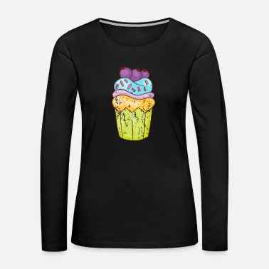 Candy Retro Vintage Grunge Style Cupcakes Muffins - Women's Premium Long Sleeve T-Shirt