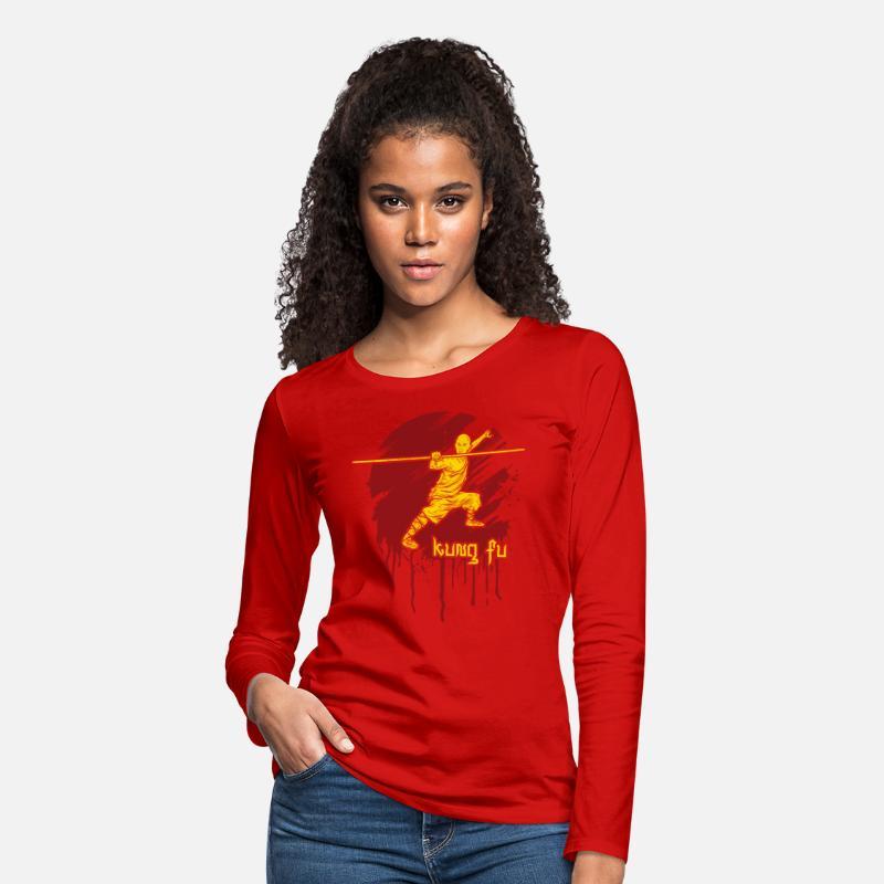 Kung Fu Bo Staff Martial Arts Women's Premium Long Sleeve T-Shirt - red