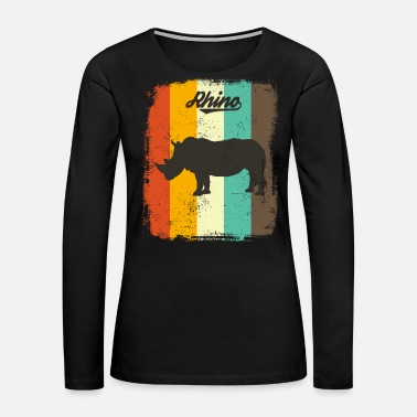 Rainbow Rhino Retro 70s Vintage Animal Lover Gift - Women's Premium Long Sleeve T-Shirt