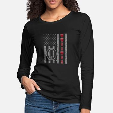 Rabbit QAnon WWG1WGA Q Anon Great Awakening MAGA USA Flag - Women's Premium Longsleeve Shirt