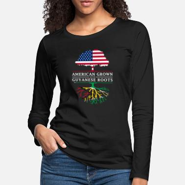 Guyana American Grown with Guyanese Roots Guyana Design - Women's Premium Longsleeve Shirt