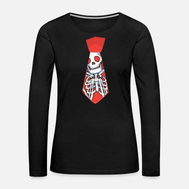 Necktie Halloween necktie scary skeleton bones - gift idea - Women's Premium Long Sleeve T-Shirt