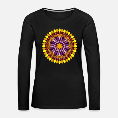 Circular Mandala Meditation Art - Women's Premium Long Sleeve T-Shirt