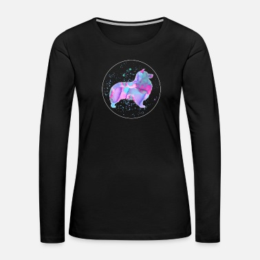 Dog Sayings Shetland Sheepdog Dog Owner Gift Watercolor Art - Women's Premium Long Sleeve T-Shirt