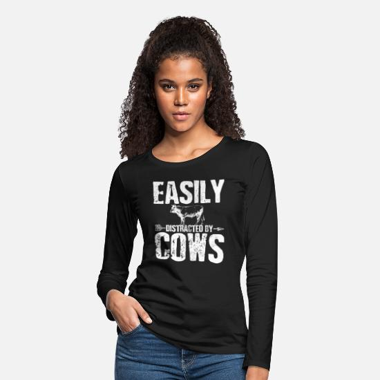 Cow Long-Sleeve Shirts - Cow - Women's Premium Longsleeve Shirt black