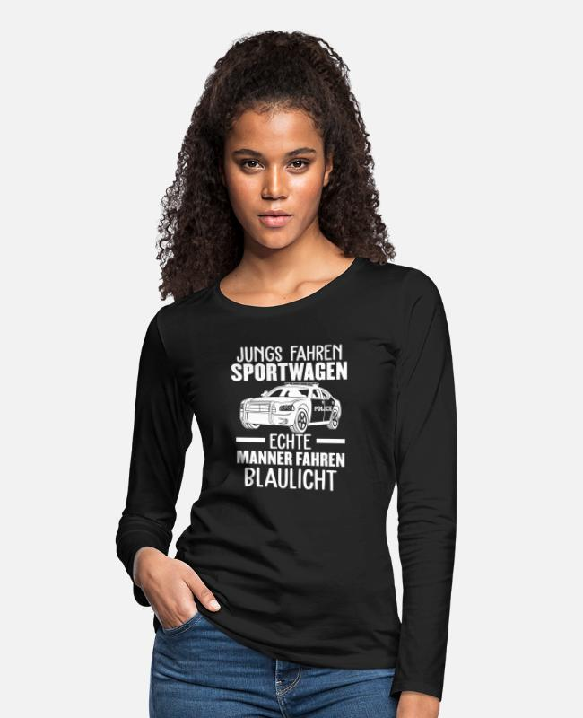 Prison Long-Sleeved Shirts - Police Officer Police Car Sports Car - Women's Premium Longsleeve Shirt black