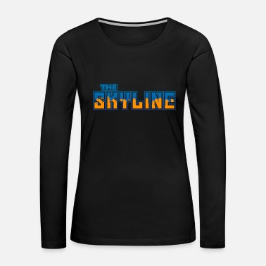 Chicago Skyline Blue Orange Cool Gift - Women's Premium Long Sleeve T-Shirt